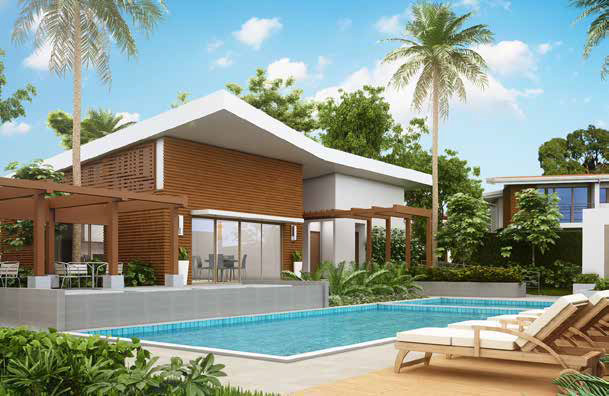 Render of House plans for vacation home Amaru Punta Leona Costa Rica