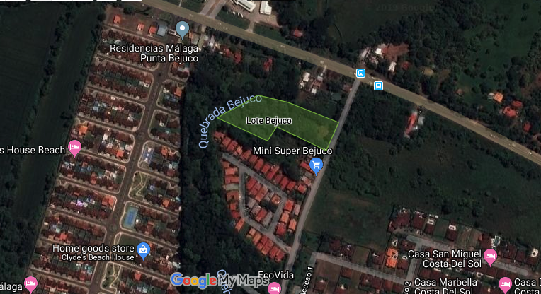 map with outline of lot for sale in Playa Bejuco